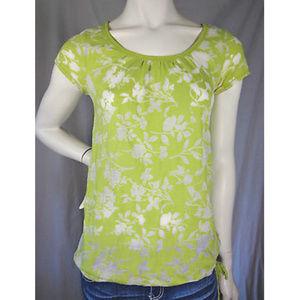🌸Aéropostale Green Sheer Floral Scoop Neck Shirt